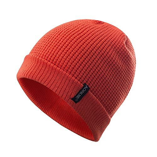 Gorros Unisex Hombres/Mujeres Invierno Cálido Gorros de Punto Al Aire Libre de Felpa Engrosamiento Sombrero de Punto Sombrero de Esquí para el Invierno (Nanranja)