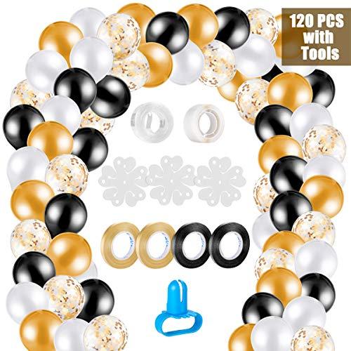 Kit ghirlanda palloncino kit arco palloncini, 120 pezzi palloncini lattice oro bianco e nero e coriandoli oro con 10pcs trumento a palloncino per matrimonio, compleanno, laurea festa decorazioni