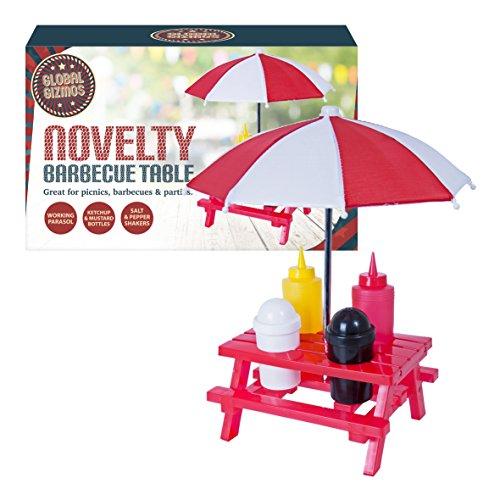 Set Tisch Sonnenschirm (Global Gizmos Classic BBQ Picknick tischgewürz-Set. Tisch, Sonnenschirm, Salz, Pfeffer, ketchup und Senf, rot)