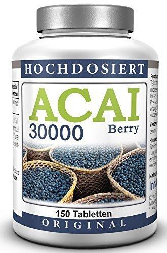 Acai-diät (ACAI Beery – 30.000 mg HOCHDOSIERT – VEGAN – 150 Acai Tabletten)