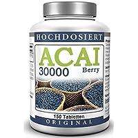 Baie D'Acai - Acai Berry 30000 mg - Extrait de baie brésilienne à haute dose, végétarien (150 comprimés)