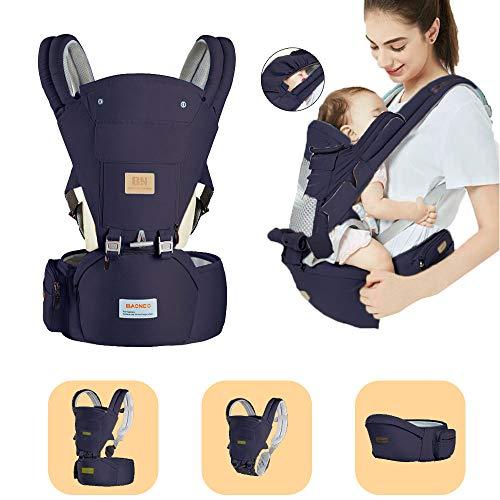 Arkmiido Babytrage Ergonomische mit Hüftsitz ,verstellbar - für Neugeborene & Kleinkinder ,Kindertrage Rückentrage Hüfttrage für alle Jahreszeite träger (blau) (3,5-20kg)
