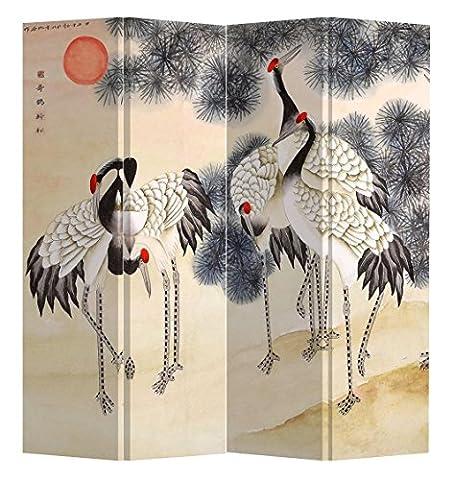 Fine Asianliving séparateur de pièce Paravent pliable d'oiseaux de grue 4panneaux (180x 160cm) meubles Home Decor Imprimé sur toile écrans recto verso bilatéral Oriental asiatique chinois Style japonais (sur toile)