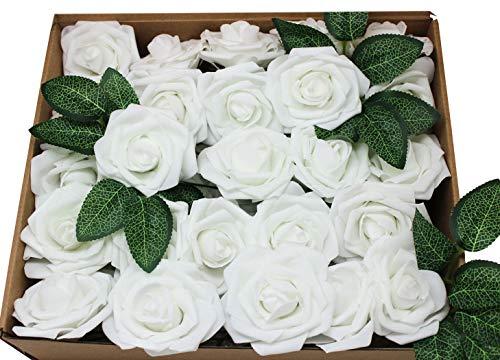 Unbekannt En Ge Künstliche Blumen, weiße Rosen, echt aussehend, künstliche Rosen, Blumen mit Stiel für DIY Hochzeit Blumensträuße Tafelaufsätze Arrangements Party Home Yard Halloween Dekoration weiß