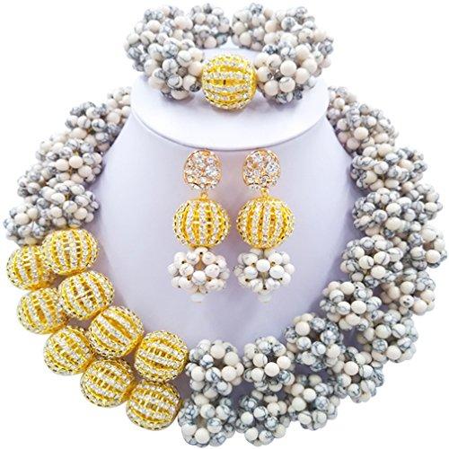 Laanc 2rows Rouge Collier de perles Turquoise et strass Doré du Nigeria africain Bijoux Femme Définit White Turquoise and Rhinestone Gold