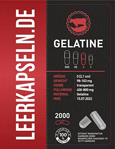 2000 Leerkapseln | Größe 0 | getrennte Kapselhälften | Gelatine | Halal & Kocher zertifiziert |...