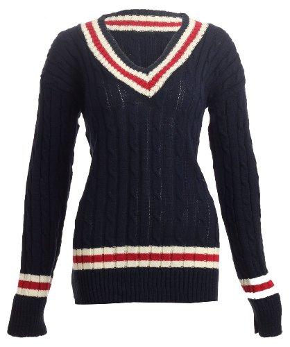 Fast Fashion Damen Langen Ärmeln Klobige Kabel Gestrickt Cricket Sweatshirt (One Size (EUR 36-42), Navy) (Klobige Pullover Gerippte)