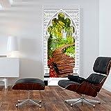 murando - Türtapete XL 80x210 cm - Vliesleinwand - Fototapete - Tapete - Türpanel - Türposter Tür Dekoration - Foto Bild Design Natur Waserfall Weg Bretter grünweiß braun c-C-0158-a-d