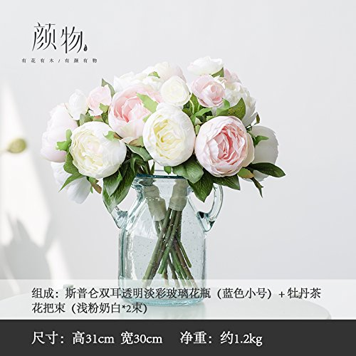 Emulation Peony Camellia Glass Vases Overall Floral Emulation Flower Showcase Home Floral, Pale Pink Milk White Kit