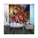 AnazoZ Duschvorhang Anti-Schimmel, Wasserdicht Badewanne Vorhang Antibakteriell, Bad Vorhang für Dusche 3D Weihnachtsmann und Hirsch, 100% PEVA, inkl. 12 Duschvorhangringen 165 x 180 cm