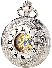 SEWOR Vintage plateado Hollow reloj de bolsillo Blanco Dial mecánico automático auto viento