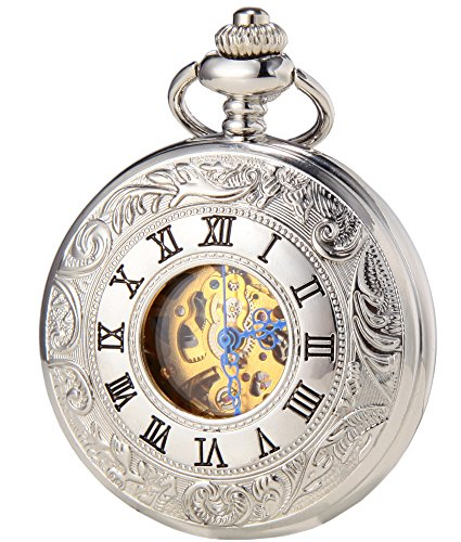 SEWOR Classic Skeleton Movement Luminous Scale Automatic Mechanical Self Wind Pocket Watch (Silver)