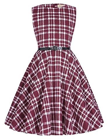 Retro 50er Hepburn Stil Kariert Abendkleid 9-10 jahre KK250-8 (Region 10 Kostüm)