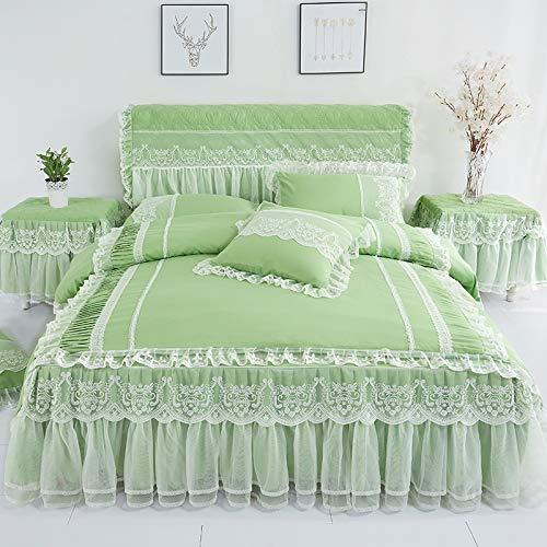 en - betten bedskirt kissenbezüge rosa romantische Hochzeit verstimmen Bett für Prinzessin tagesdecken Bogen Bett 3 / 4pcs-Green-Queen ()