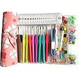 30 Pcs Kit Accessoires Tricotage d'outils à tricoter de base avec étui Aiguilles à Crochet Tricot de 2mm à 6mm en Alumimium Poignée