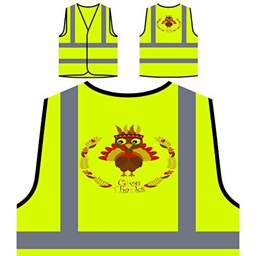 Glücklicher Erntedank Der Türkei Personalisierte High Visibility Gelbe Sicherheitsjacke Weste r749v