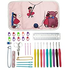 Essential Set de agujas de ganchillo ( - 9 ergonómico Comfort Grip de ganchillo, accesorios y Roll-up organizador bolsa funda con bonito diseño - Mozart Supplies