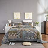 PUWENYCC Dreiteilige Bett-Baumwollbettdecke amerikanischer Baumwollhandgemachtes Patchwork anwendbar für Haus (Color : Multicolor)