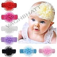 vaghbhatt Crochet Cutwork Flower Headband for Baby Girls (Multicolor,Pack of 6)