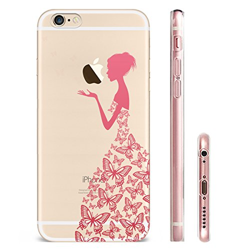 IPHONE 6 6S Hülle Weich Silikon TPU Schutzhülle Ultradünnen Case für iPhone 6 6s Schutz Hülle Rosa Schmetterling Mädchen
