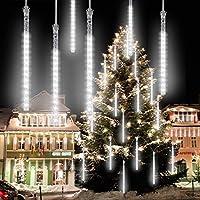 VIMOV Waterproof Falling Rain Lights, 8 Helix Meteor Lights Tubes 30CM 288 LED Rain Effect Light for Christmas, New Year, Wedding, Valentine