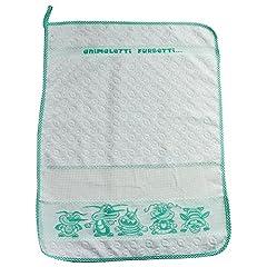 Idea Regalo - Asciugamano per bambini ANIMALETTI FURBETTI cm.40X55 Asciugamano per asilo e scuola materna con tela aida per ricamare il nome a punto croce Spugna di Cotone 100% Made in Italy