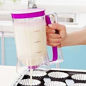 Lemonbest ® Distributeur de pâte à crêpe Gâteau Cupcake VERRE DOSEUR PICHET outils à Cake 900 ml