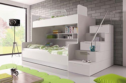 Furnistad | Etagenbett für Kinder Heaven | Stockbett mit Treppe und Bettkasten (Option rechts, Weiß)