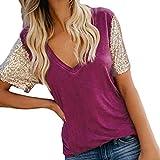 KIMODO Bluse Damen Paillette Ärmel T Shirt V-Ausschnitt Frauen Top Freizeit Shirt Sommer Kurzarm Oberteile