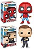 Funko Pop! Spider-Man Homecoming: Spider-Man (Homemade Suit) + Peter Parker - Vinyl Bobble-Head Figure Set New