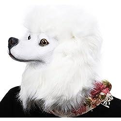 Máscara de latex de perro blanco.
