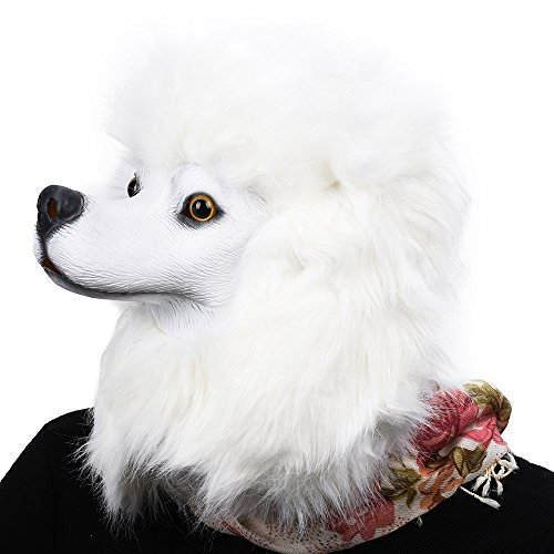 Party Story Halloween Maske latex Hund Weiße PudelTiermaske -