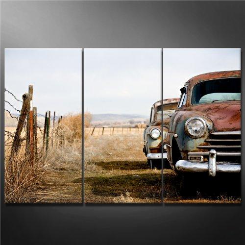 Leinwand Kunstdruck Wandbilder Bild Vintage Cars, verlassen und Rosten Away in ländlichen Wyoming 3Stück Gemälde Moderne Giclée-gespannt und gerahmt Kunstwerk das Auto Bilder Foto Prints auf Leinwand -