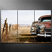 Impresión de Lienzo de Pared Arte Imagen Vintage coches abandonados y oxidación de distancia en Wyoming rural 3piezas pinturas Giclée de moderna estirada y enmarcado arte el coche fotos impresiones de fotos sobre Lienzo
