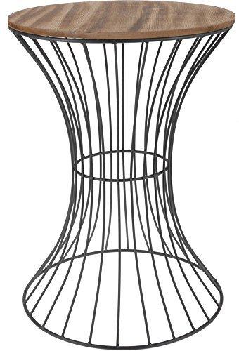 Spetebo Designer Beistelltisch aus Metall mit Holz Tischplatte - dekorativer Tisch mit geschwungenem Metallgestell -