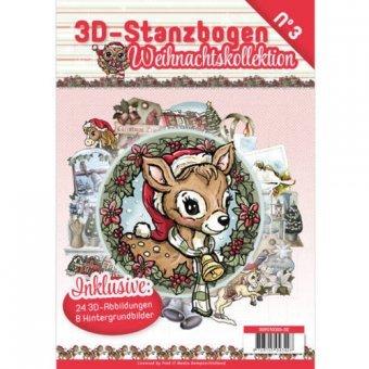 3D Stanzbogen Buch A4 Weihnachtskollektion Nr.3 - 24 3D Motiv & 8 Hintergrundpapiere