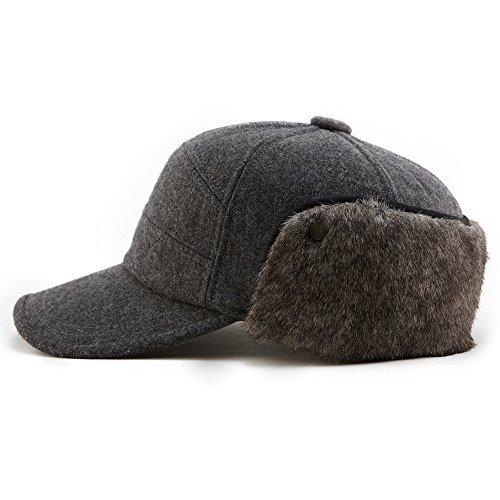 SIGGI Wolle Warme Baseballkappe graue Winter Ohrschutz Baseballcap Schirmmütze Für Herren XL