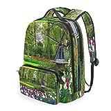 CPYang Schulrucksack, Gartenbaum, Windmühle, abnehmbare Schultertasche für Reisen, Laptop, Rucksack für Mädchen, Jungen, Damen, Herren
