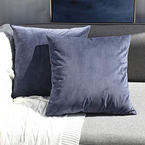 Sunfay Kissenbezug Samt Set Kissenhülle 45 x 45 cm 2er Sofakissen mit Reißverschluss dekokissen Set für Sofa Bett Schlafzimmer Solide Streifen Grau Blau -