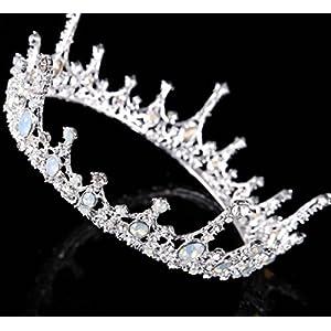 CYY Braut Kopfschmuck Rhinestone Krone Retro Runde Krone 5.5 * 14.5 cm Hochzeit Zubehör 2 Farben, Silver