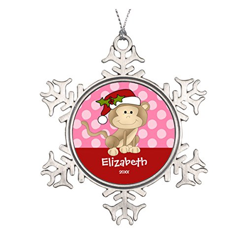 Daily Lady Girl Personalisierte Christmas Ornament Monkey Pink