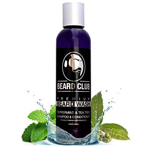 Premium Beard Champú y Acondicionador | Menta y árbol del té | 125ml | Beard Club | 100% Natural y Biológico Champú de para hombres | Jabón líquido para la barba |Promueve un Crecimiento Saludable
