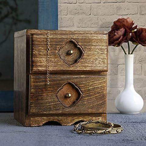Store Indya Wooden Chest of 2 Drawers Small Keepsake Jewellery Makeup Holder Storage Organiser Multipurpose Box - Home Furniture Decor …