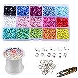 Pony cuentas de vidrio pequeñas espaciadoras con caja organizadora de almacenamiento, 0.8 mm de cadena de cristal para manualidades, collares, pulseras, pendientes, joyería, 15 colores, 3 mm