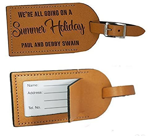 Personalised Leather Luggage Tag for suitcases - Made in the UK from Genuine 100% Leather - Summer Holiday Travel Gift -