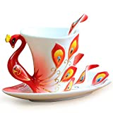BonZeal Tea Set, Peacock Design Cup, (With Saucer and Spoon) 180ml Pack of 1, Red