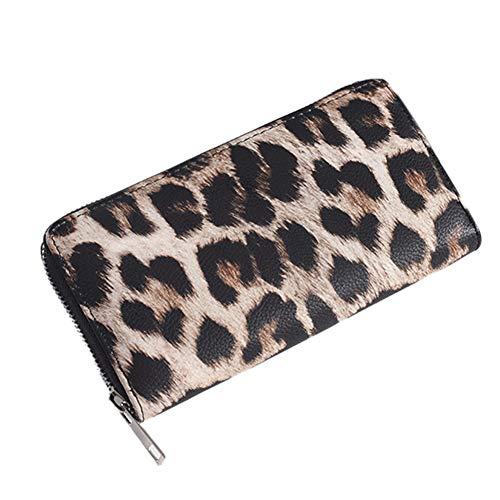 Womens Zip Monedero Largo de la PU del Leopardo del Embrague de Cuero Carteras Bolsos de Cuero