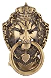 #8: Houzzplus Brass Victorian Style Door Knocker,Decorative Antique Look Lion Mask Brass Door Knocker (Golden, GH182)