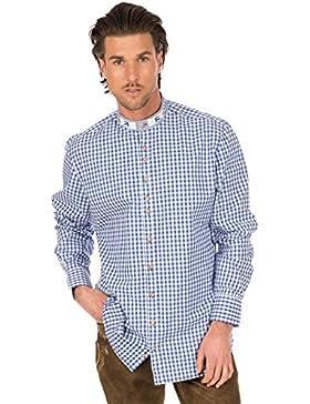 orbis Textil Trachtenhemd Stehkragen Blau Weiss