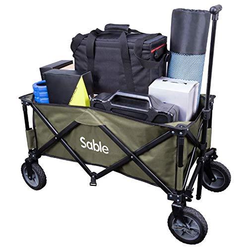 Sable Bollerwagen Faltbarer Handwagen Transportwagen Gartenkarre Faltwagen für Einkaufen, Campen, Gartenarbeit, bis 120 kg belastbar, 108 x 54 x 97 cm (Grün)